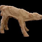 Danish Limited Edition N° 29/200 Mid Century Modern Unglazed Clay Sculpture Standing Calf Therese Lucheschitz Figure - c. 1940, Denmark