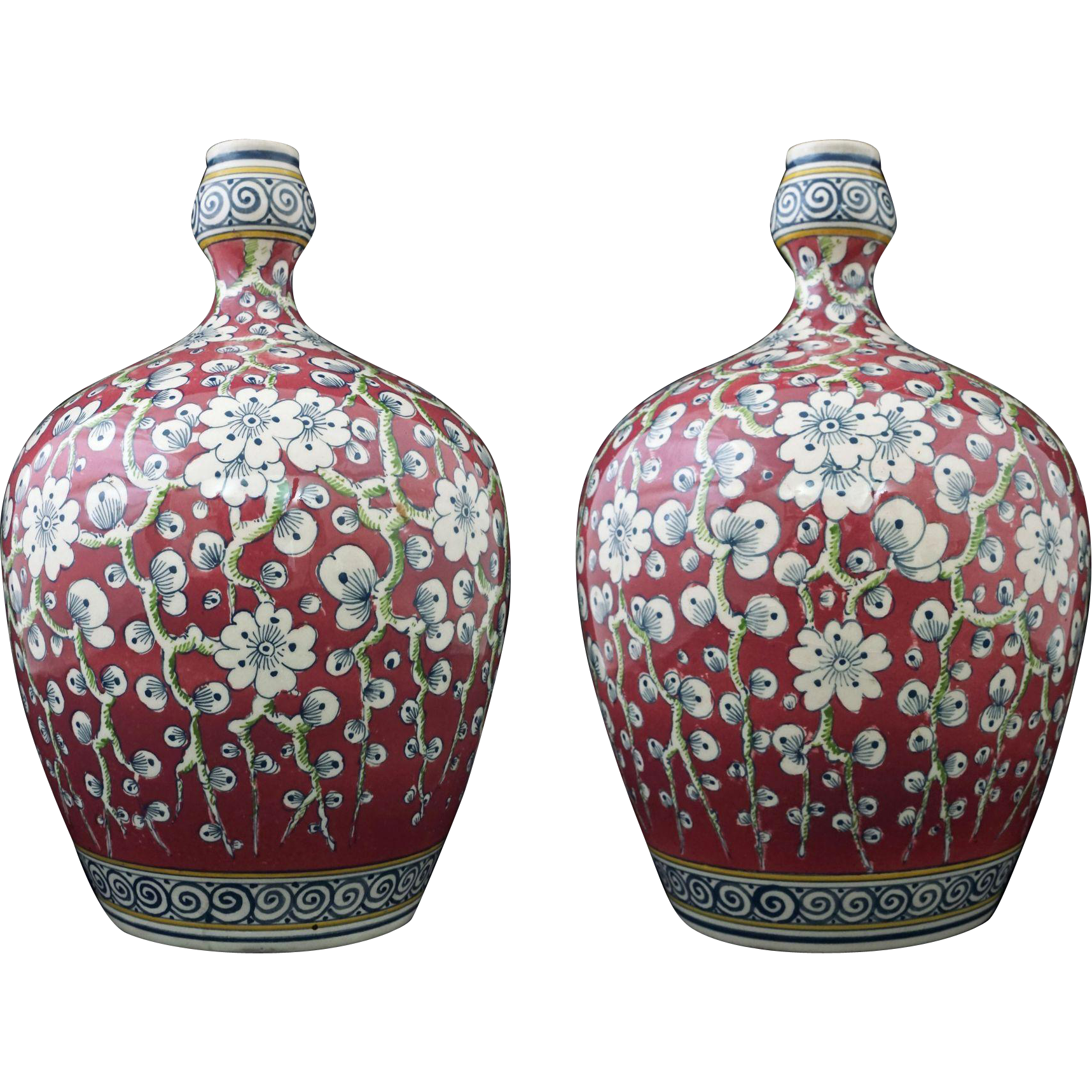 Pair of Dutch Ivora Gouda High Glaze Pottery Vases / Jars Art & Crafts Style Deco Period Factory Marked - c. 1920-1926, Holland
