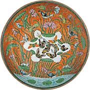 Lotus Pond Mandarin Ducks Butterflies Porcelain Plate - 19th Century, China
