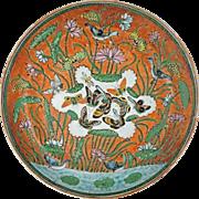 Lotus Pond Mandarin Ducks Butterflies Porcelain Plate - 19th Century, China