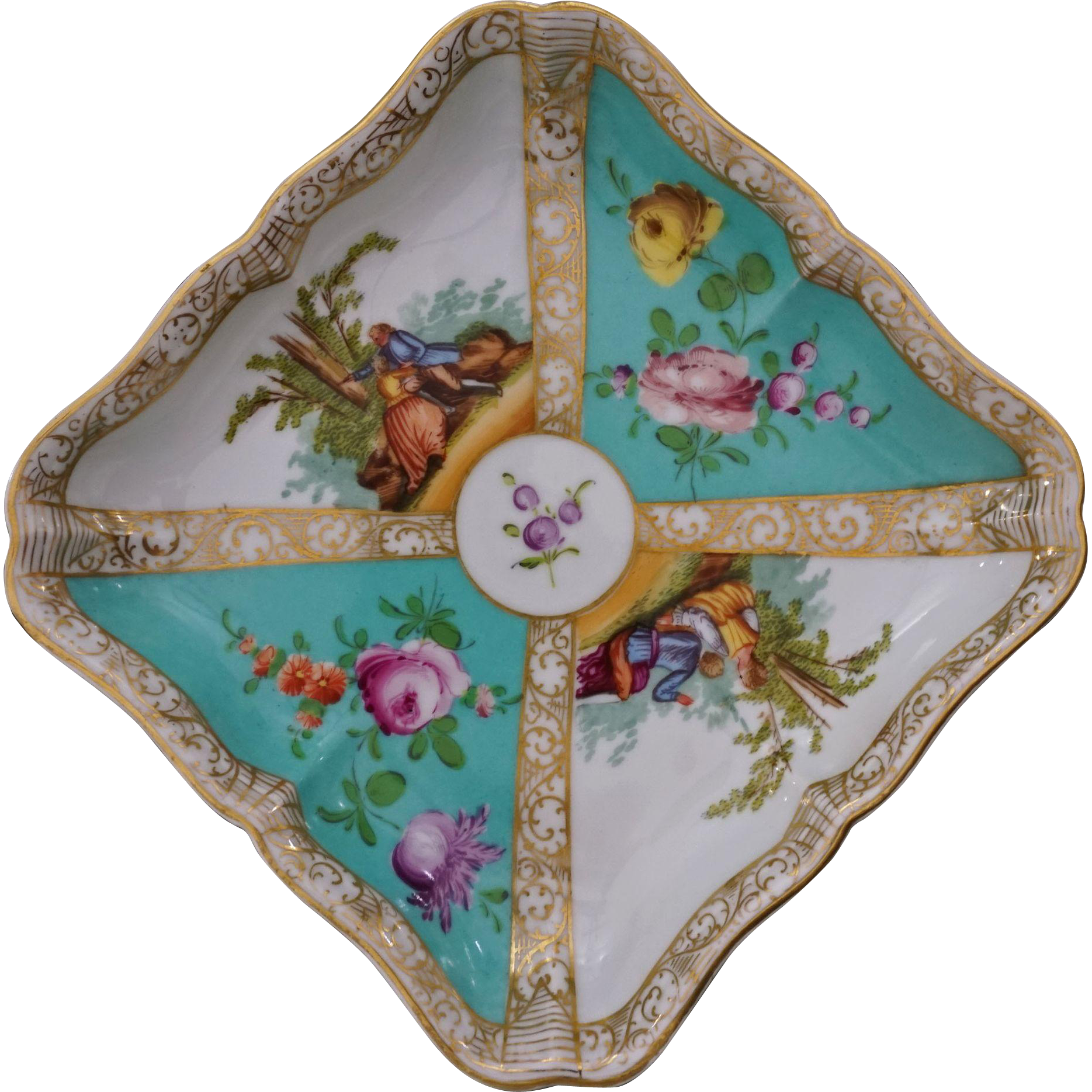 "Dresden Quatrefoil Square Bowl by Carl Thieme Large 7"" - c. 19th Century, Germany"