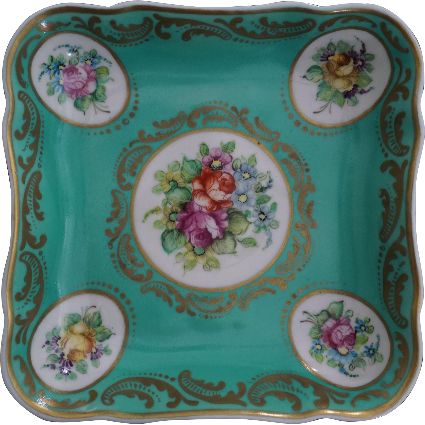 Turquoise Square Porcelain Bowl Floral Medallions Signed - 19th Century, Continental