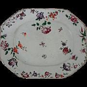 18th Century Famille Rose / Lowestoft Enamel on Porcelain Chinese Export Platter Antique Large