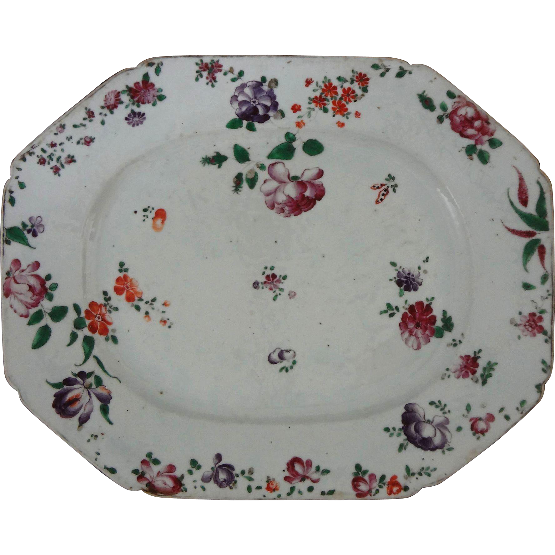 18th Century Famille Rose / Lowestoft Enamel on Porcelain Chinese Export Platter Antique Large