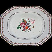 18th Century Famille Rose / Lowestoft Enamel on Porcelain Chinese Export Platter Antique