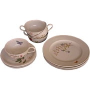 Hutschenreuther 12 Pc Tea Set  (3x4) Turvel Shape Flower and Butterfly Decor - 20th Century, Germany