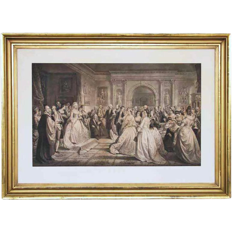Lady Washington's Reception Day Antique Framed Large Engraving - 19th Century, USA