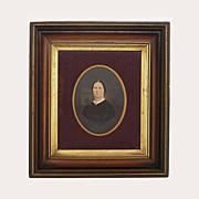 18.5 by 16.5 inch Antique Walnut Gilt Frame Photograph Lady Portrait - 19th Century, USA
