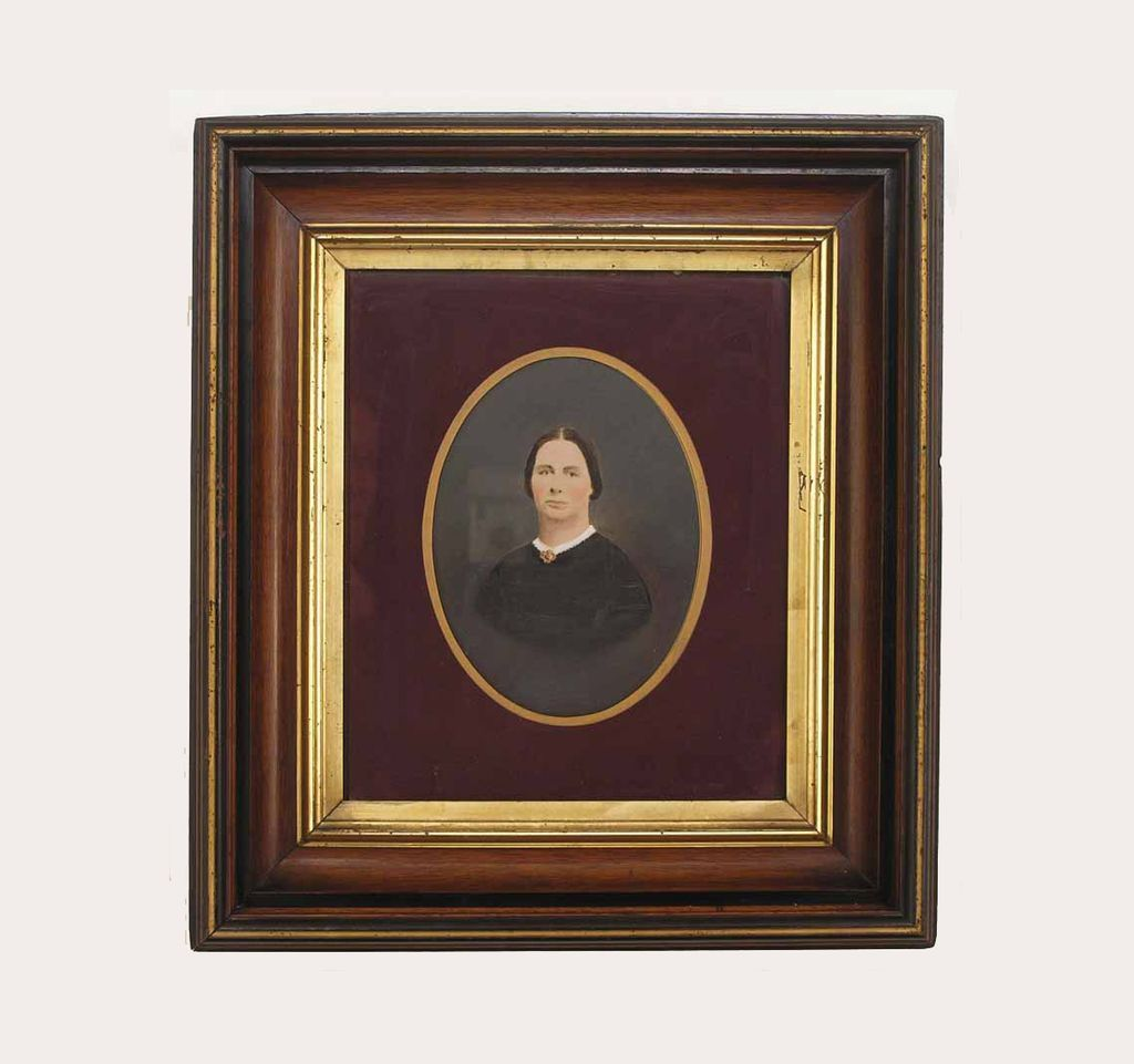 18.5 by 16.5 inch Antique Walnut Gilt Frame Photograph Lady Portrait - 19th Century, USA