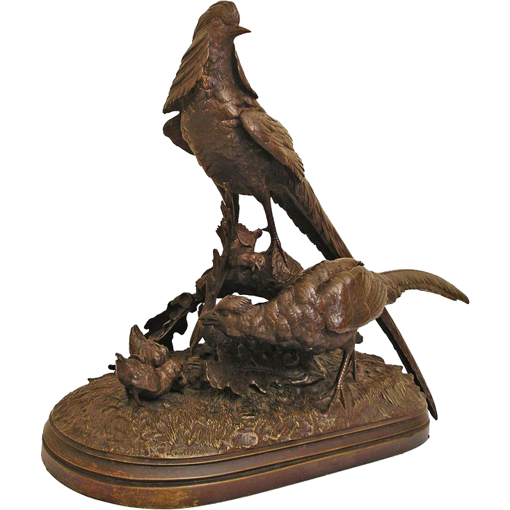 Monumental Animalier French Bronze Pheasants Sculpture Signed Lechesne Sculp, L. Martin Fondeur Foundry Mark - 19th Century, France
