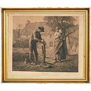 Etching The Grafter by Focillon after Jean Francois Millet: - 19th Century, France