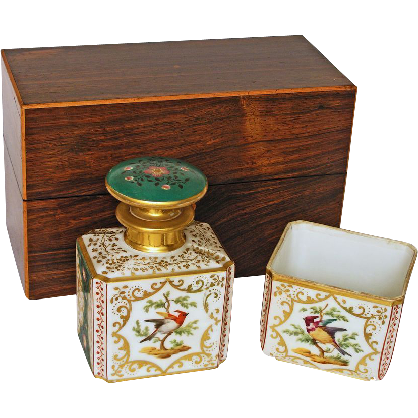 Jacob Petit Style Porcelain Scent Perfume Bottle & Bowl with Fitted Box - 19th Century, France