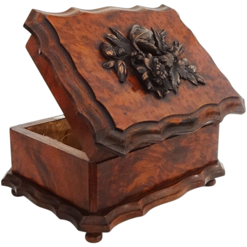 Tahan Paris Burled Walnut and Cast Metal Decor Box / Casket - 19th Century, France