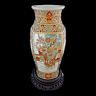 Large Satsuma Earthenware Vase Meiji Warriors - c. 19th Century, Japan