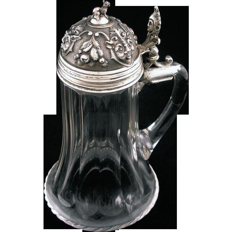 Antique Silver Lidded Dog Finial Crystal Body Tankard Stein Hallmarked - c. 1867-1922, Austro-Hungary