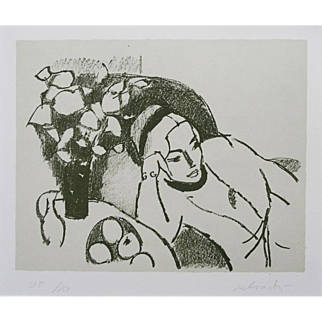 Limited Edition Modern Lithograph 'Reclining Woman' Signed Post Impressionist Italian Artist Aldo Salvadori - 20th Century, Italy