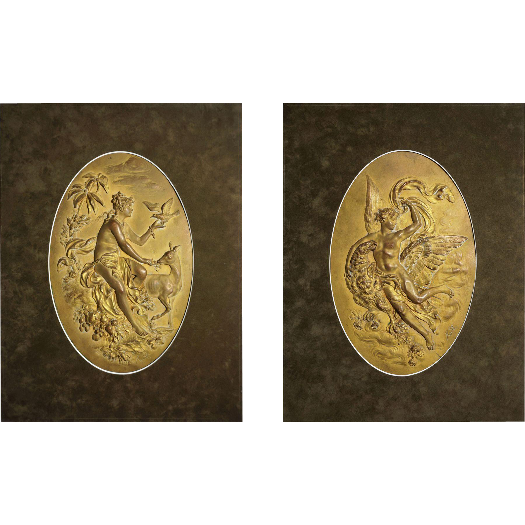 Pair of Austrian Gilt Copper Relief Wall Plaques Mythology Allegorical Signed by Artist Karl Sterrer - c. 1890, Austria