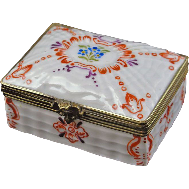 Miniature Porcelain and Bronze Rectangular Trinket Box Sevres Style Double L Mark - c. 20th Century, France