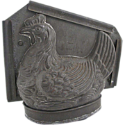 Early French Chocolate Mold Hen Animal Large Holds1.25 Liter SOMMET Mark # 1305 - c. 1920's, France