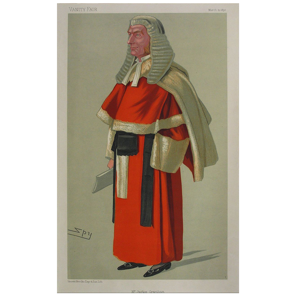 "Original Color Lithograph Cartoon Judge Red Robe Signed by Artist Sir Leslie Ward ""Spy"" - 1890, England"