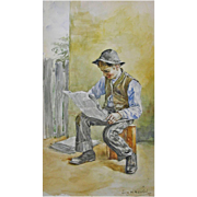 Original Antique Americana Watercolor Painting Newspaper Boy Signed By Artist Henrici - 1895, USA