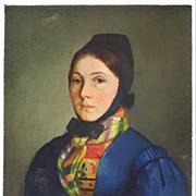 Miniature Portrait Oil on Metal Young Woman in Austrian Folk Costume - 19th Century, Austria