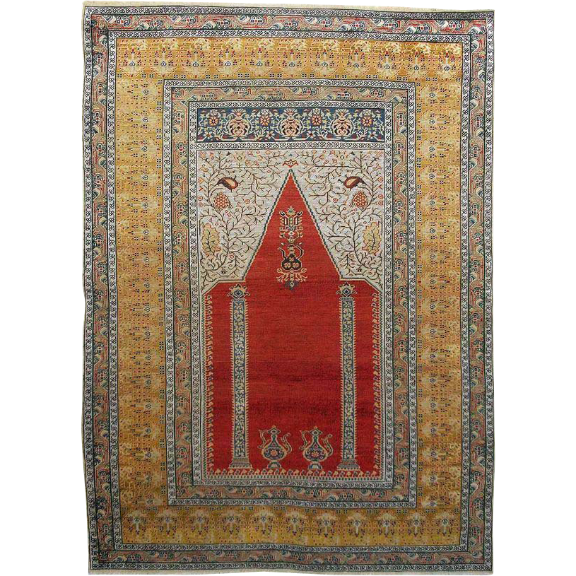 Antique Turkish Prayer Rug / Carpet - c. late 19th Century, Turkey