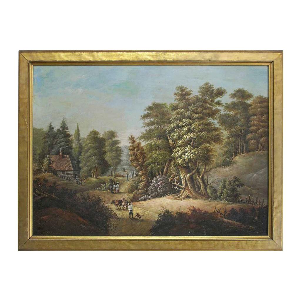 Antique Western Art Oil Painting Landscape Log Cabin Woods