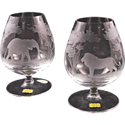 Pair Elephant and Lion Brandy Snifters Rowland Ward Nairobi Crystal Hand Etched Big Game Theme