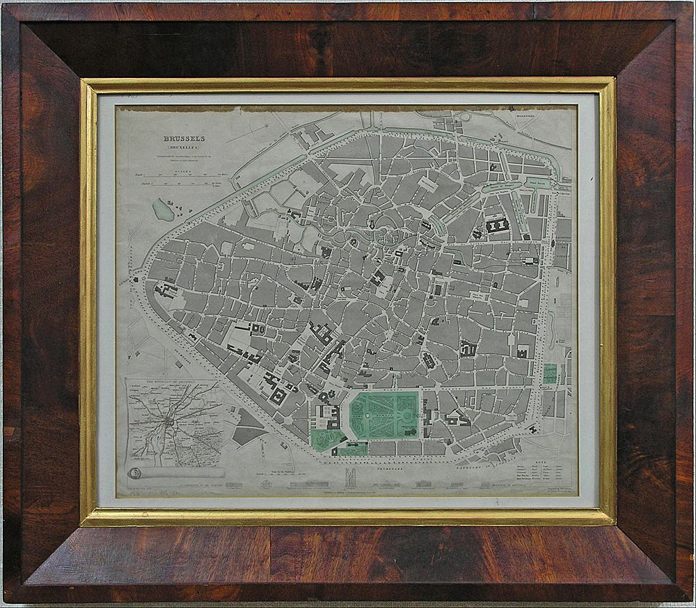 Antique Map of Brussels (Bruxelles) Steel Engraving in Period Wood Frame - 1837, England