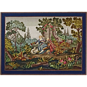Very Large Needlework Picture of Courting Scene in Pastoral Setting