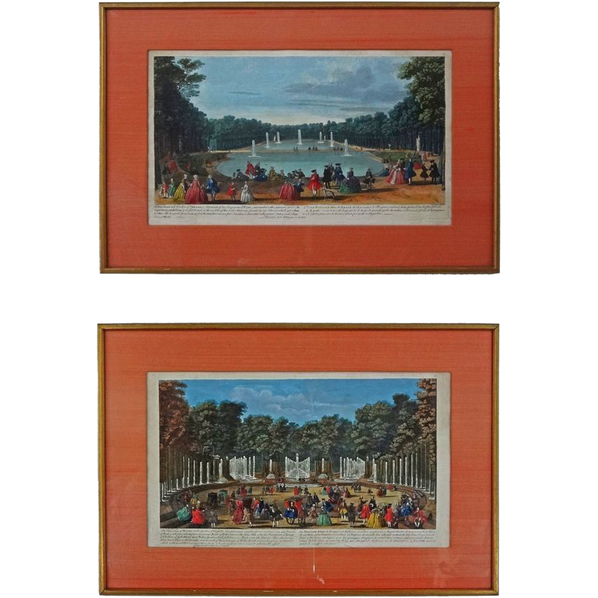 Pair of Garden of Versailles Hand Colored Engravings - ca. 18th Century, England