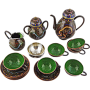 Japanese Cloisonne Tea Set Silver Liners Meiji Period Signed - 1868 to 1912, Japan