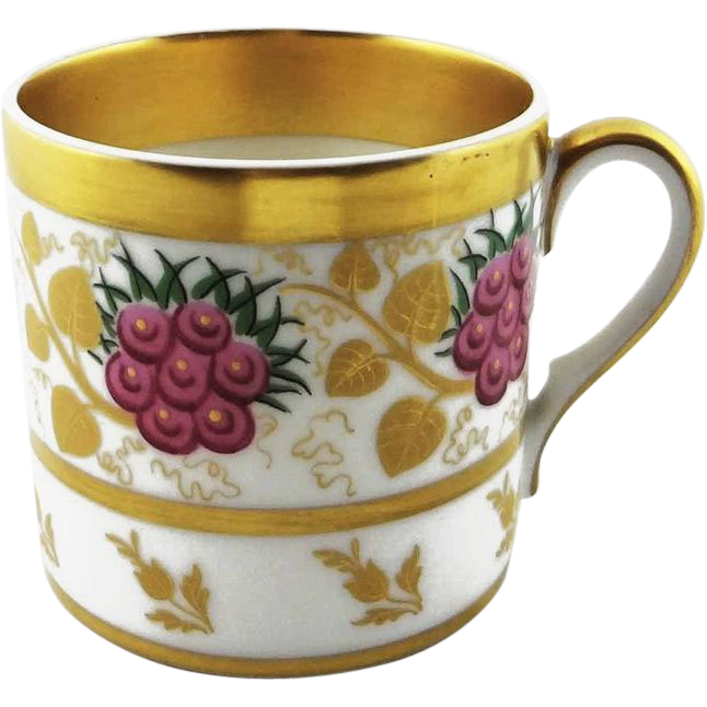 Vista Alegre Portuguese Cup Coffee Can Gilt Flora Motif - c. 1940's, Portugal