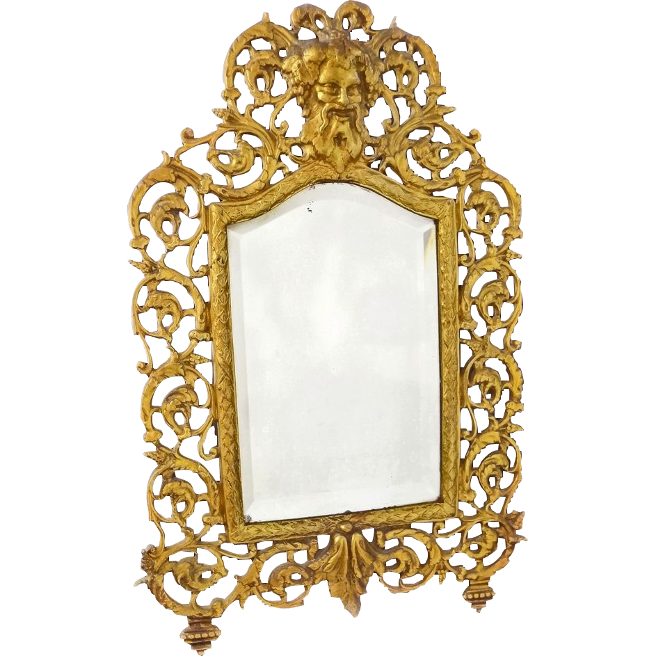 Figural Bronze Tablet Top Mirror Bevelled Glass Neoclassic Style Bacchus - c. 19th Century, USA