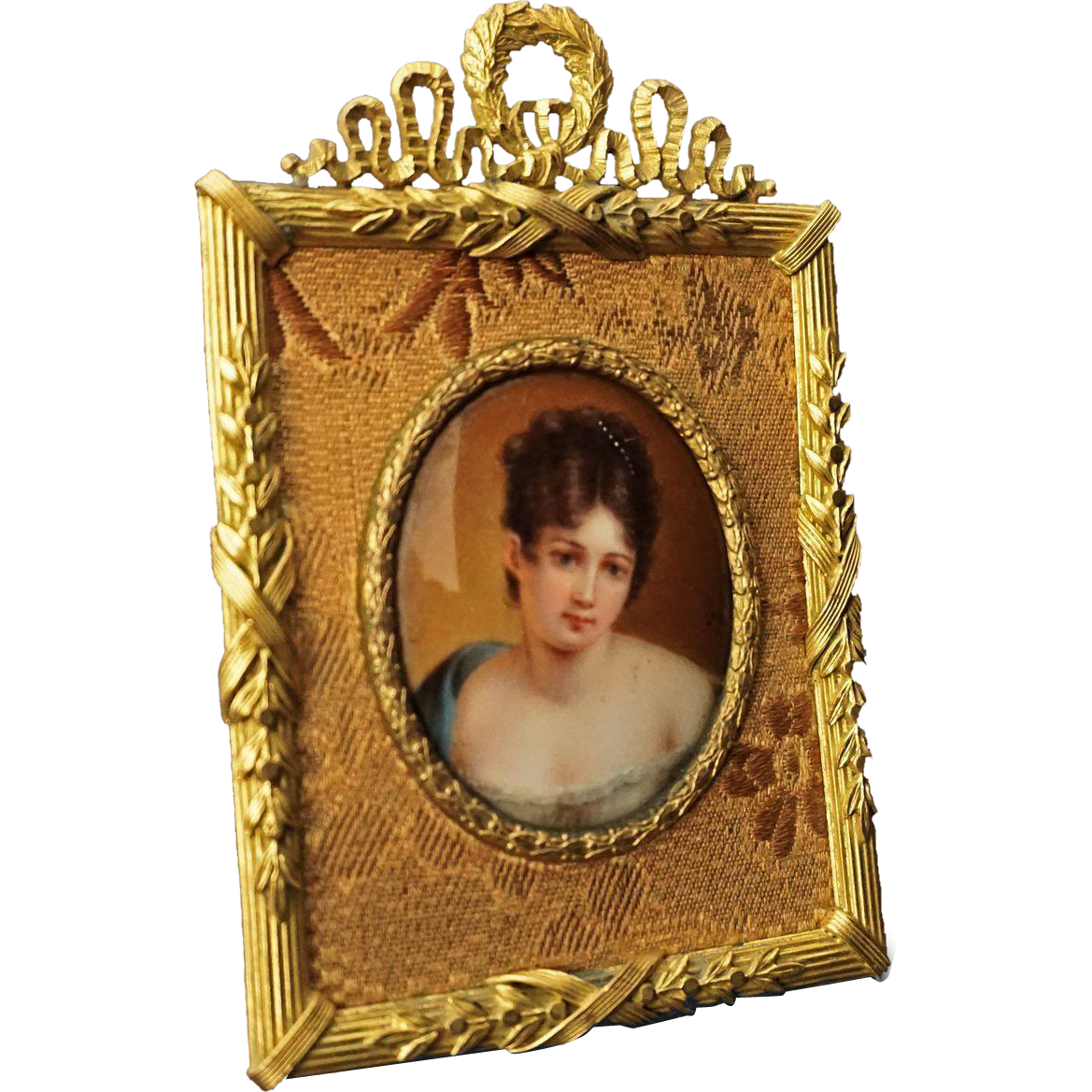 Miniature Portrait Painting on Porcelain of Madame Recamier after Francois Gerard