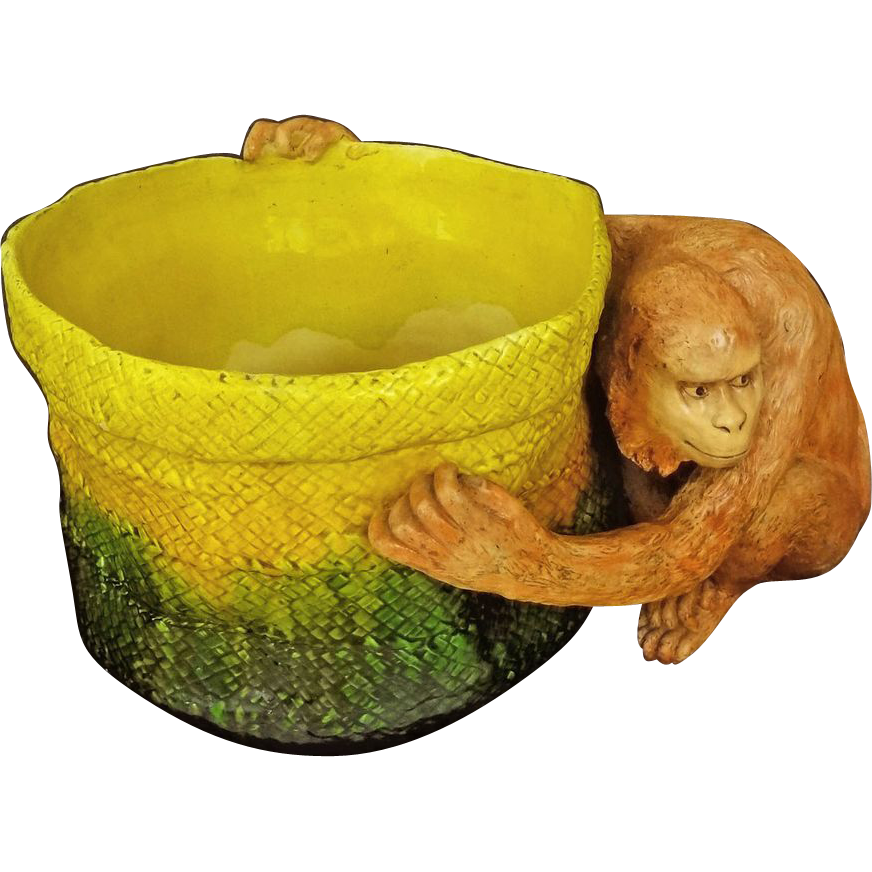 Antique Huge English Majolica Art Pottery Monkey Figure and Basket Jardiniere Planter - c. 1909, England