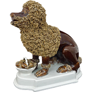 Poodle and Fruit Basket Figure on White Plinth Base Mid-Century Modern Large Brown Glaze Statuette - c. 1950's, Italy