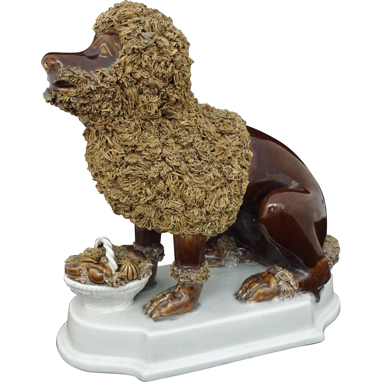 Mid-Century Modern Large Brown Glaze Seated Poodle Dog and Fruit Basket on White Plinth Base - c. 1950's, Italy