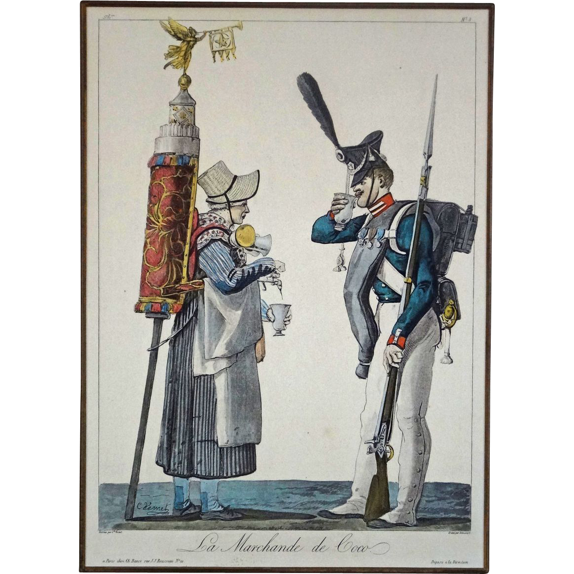Pair French Genre Lithograph Prints after Carle Vernet of Street Vendors Matted and Framed