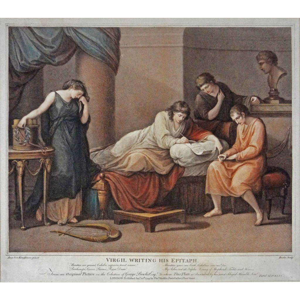 Antique Color Engraving Virgil Writing His Epitaph after Angelica Kauffman / Burke scul. - c.19th Century, England