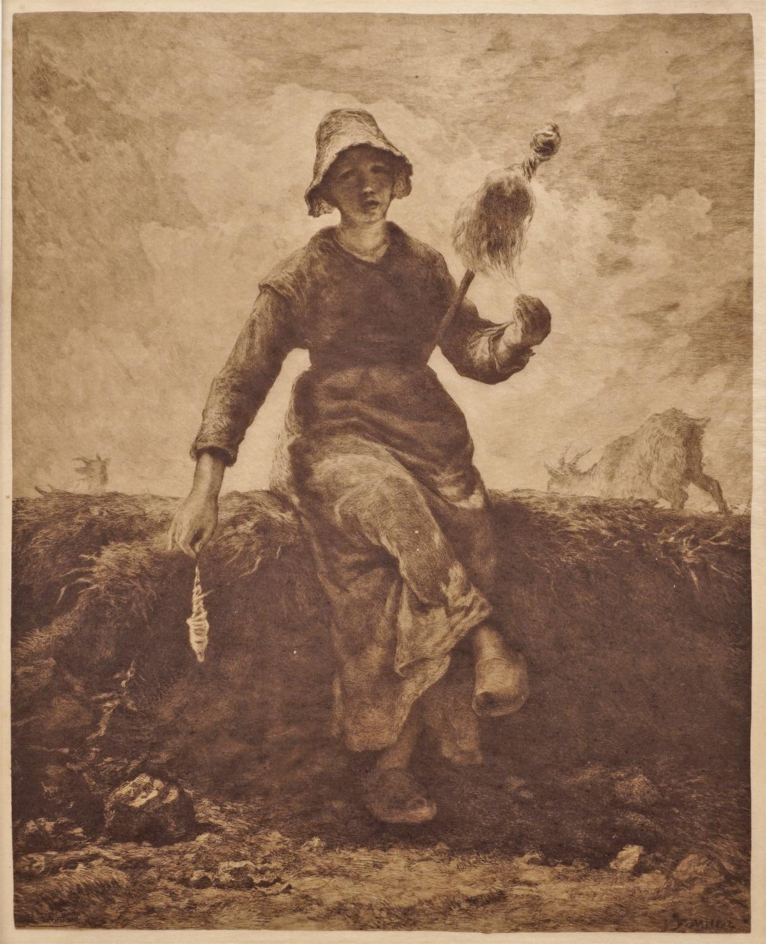 Sepia Print on India Paper The Spinner, Goat-Girl from the Auvergne after Jean Francois Millet - c. 19th Century, France