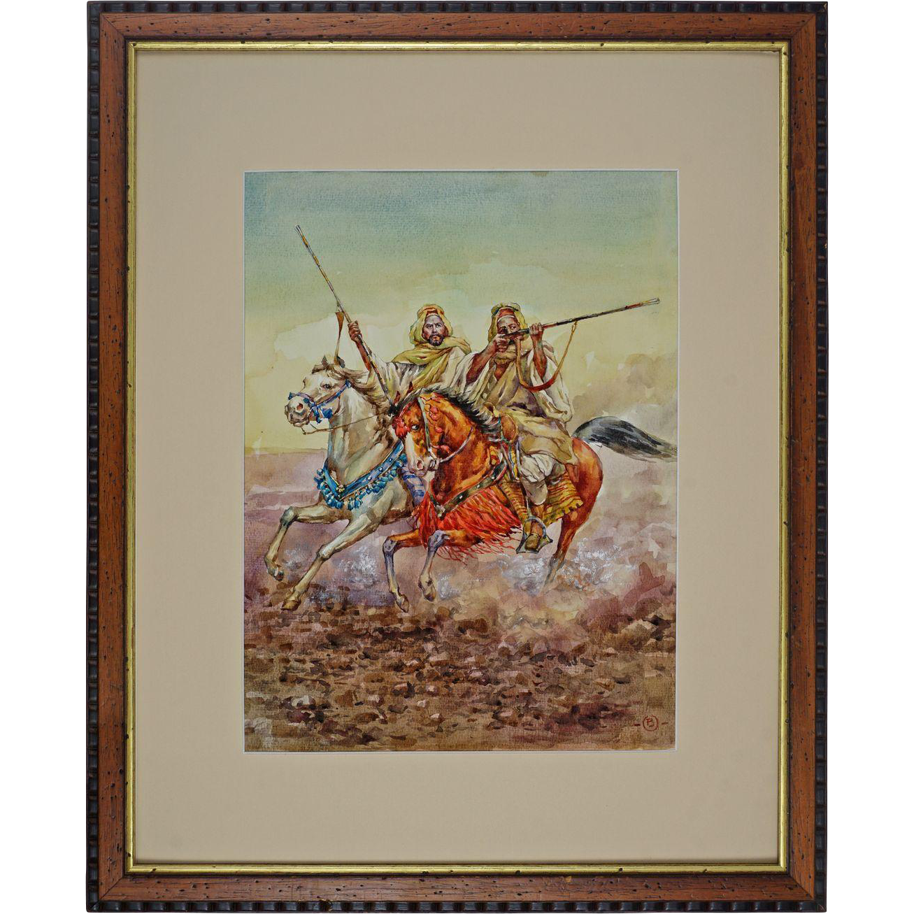 "Watercolor after Giulio Rosati ""Fantasia"" Moroccan Horsemen at Full Gallop Signed Artist's Monogram"