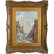 Watercolor Italian Cathedral View signed Jas. Holland