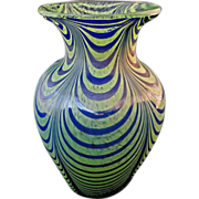 "Kralik 7""H Art Glass Green Blue Pulled Loop Vase - c. 20th Century, Bohemia - Red Tag Sale Item"