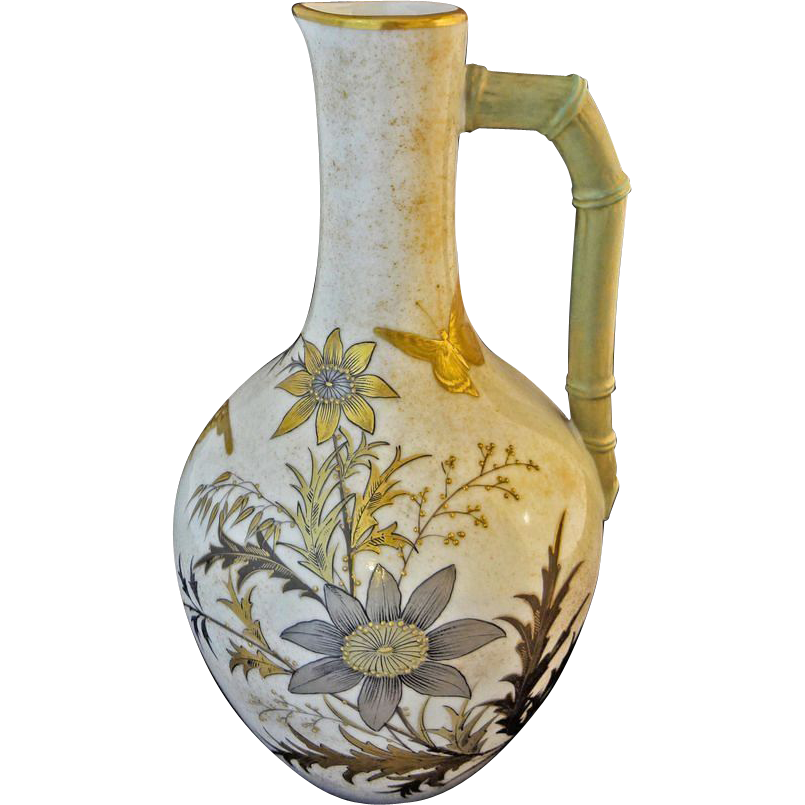 Antique Royal Worcester Porcelain Anglo Japanese Style Pitcher - England, 1884
