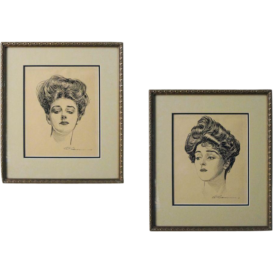 PAIR Gibson Girl Prints Framed - 20th Century, USA