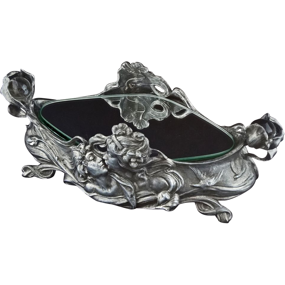 Art Nouveau  Large Pewter Centerpiece Double Handled - c. 19th/20th Century, European