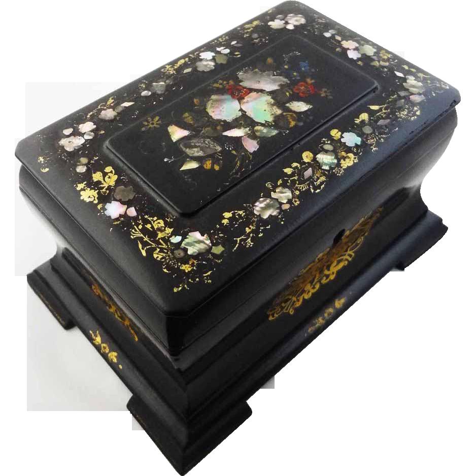 Antique Ebonized Papier Mache Tea Caddy Box Mother of Pearl - 19th Century, England