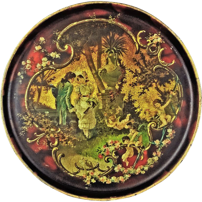 Antique English Decoupage Papier Mache Round Tray Courting Scene 11.75 Inch Diameter - 19th Century, England